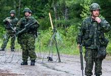 The Ontario Provincial Police and the Canadian Armed Forces are conducting a joint training exercise in the Bancroft area in the evening of July 23, 2019. Pictured is a military training exercise held at Camp Aldershot in Nova Scotia in June 2019. (Photo: Lieutenant (Navy) Sean Costello)