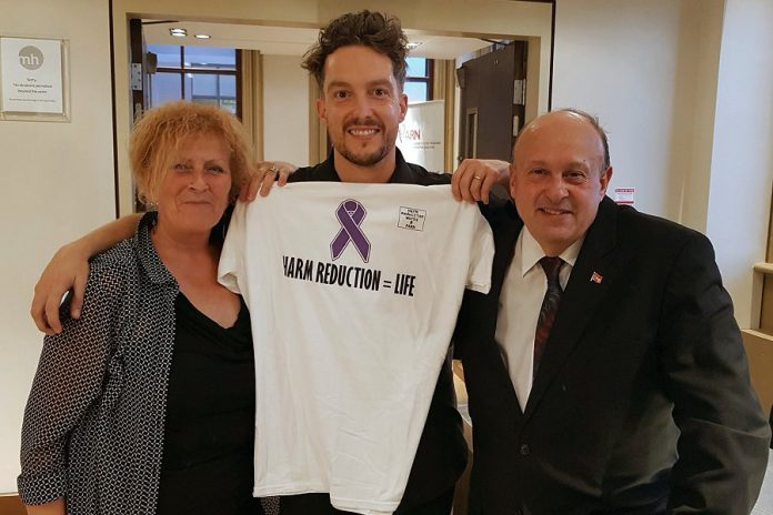 Peterborough artist and former addict Alex Bierk (middle), who was a member of the  Opioid Summit panel, with panel moderator Kim Dolan and Ontario Associate Minister of Health and Addictions Michael Tibollo. (Photo: Office of Michael Tibollo / Twitter