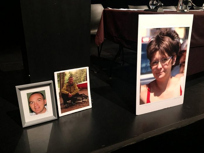 Photographs of overdose victims, displayed near the podium at the Peterborough Opioid Summit on July 11, 2019 at Market Hall, served as a poignant reminder of the cost of doing nothing to address the crisis which has seen 19 people die of an overdose in the first six months of this year. (Photo: Paul Rellinger / kawarthaNOW.com)