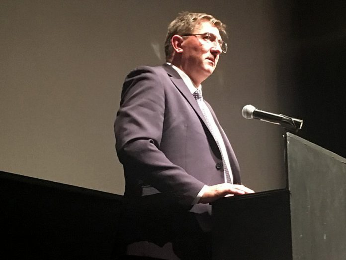 Peterborough-Kawartha MPP Dave Smith delivered a passionate plea at the Peterborough Opioid Summit held on July 11, 2019 at Market Hall, urging people sign a petition calling for immediate provincial government approval of a consumption and treatment site in the city. (Photo: Paul Rellinger / kawarthaNOW.com)
