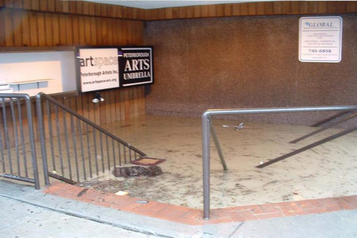 Organizations such as the Peterborough Public Library, the Peterborough Museum and Archives, and Artspace and the Peterborough Arts Umbrella (pictured here) experienced significant flood damage.