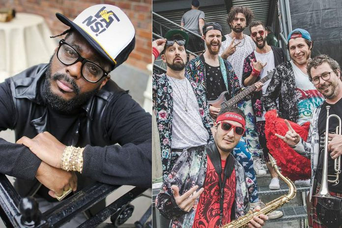 Toronto hip hop artist K-OS (Kevin Brereton) and Vancouver-based funk band Five Alarm Funk perform a free, sponsor-supported concert at Peterborough Musicfest in Del Crary Park in downtown Peterborough on July 3, 2019. (Photos: Andrew Francis Wallace and Five Alarm Funk / Instagram)