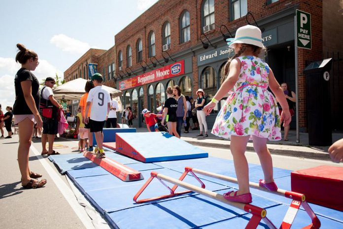 An annual family-friendly event in downtown Peterborough, Peterborough Pulse is a partnership between Peterborough Downtown Business Improvement Area (DBIA), the City of Peterborough, GreenUP, and B!KE: the Community Cycling Hub, with sponsorship from local organizations and businesses.  (Photo courtesy of Peterborough Pulse)