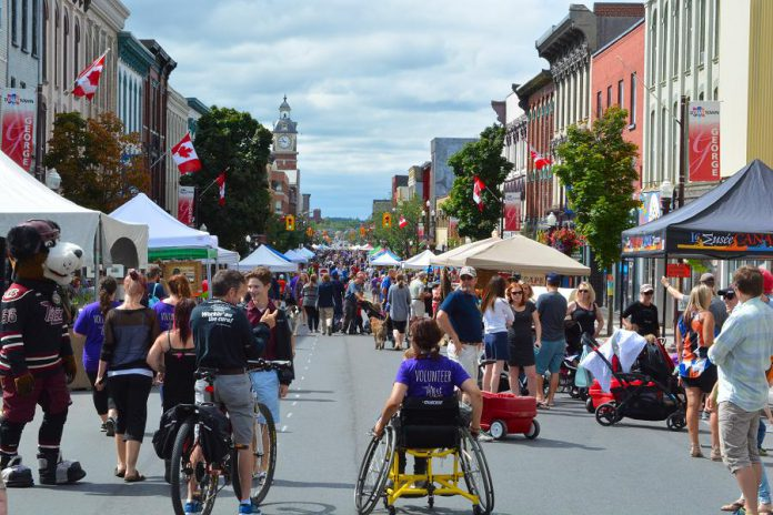 On Saturday, July 27th, the streets of downtown Peterborough will be turned into an urban playground for Peterborough Pulse 2019. The fifth anniversary of the Open Streets event will see businesses, community organizations, and volunteers fill downtown with activities, displays, and installations while many hundreds of people walk, cycle, skateboard, roller skate and more through car-free downtown streets. (Photo courtesy of Peterborough Pulse)
