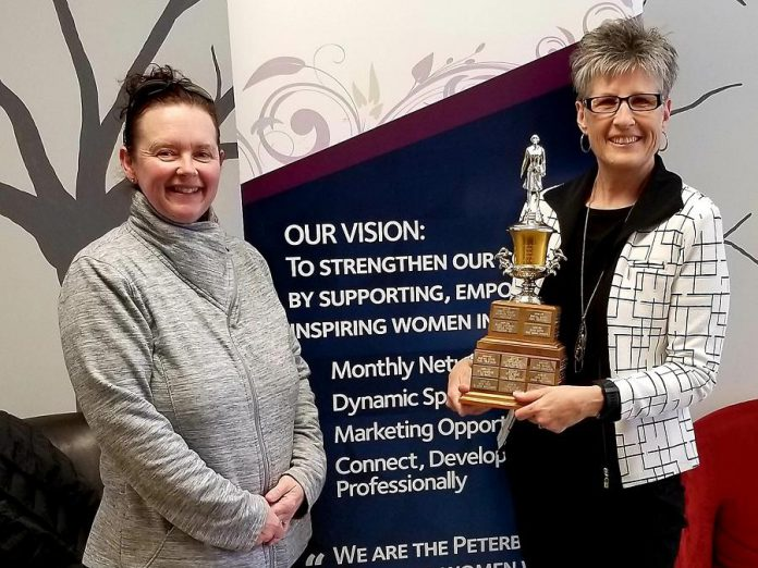 Arlene Blunck of All Office Machines (right) was chosen as 2018-19 Member of the Year by the membership of the Women's Business Network of Peterborough (WBN). She is pictured here with 2018-19 WBN President Tracey Ormond, who received the award the previous year. (Photo: WBN)