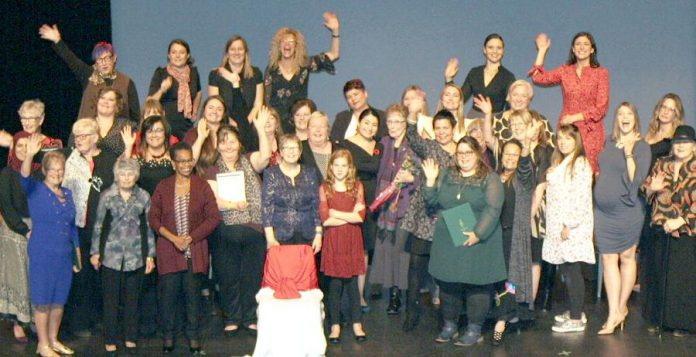 Some of the 55 women who were recognized during the inaugural Peterborough-Kawartha Women's Leadership Awards Gala at Showplace Performance Centre in downtown Peterborough on October 27, 2018, including Women's Business Network of Peterborough members Jeannine Taylor, Sarah Susnar, and Sofie Andreou. (Photo: Office of Maryam Monsef)