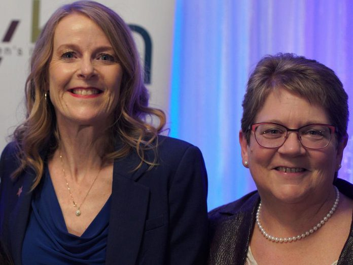 Two members of the Women's Business Network of Peterborough who were publicly recognized in 2019 for their achievements: Monika Carmichael of Trent Valley Honda, who received the Women in Business Award for business leadership, and Kim Appleton of Emmatt Digital, who received the Judy Heffernan Award for empowering other women to succeed. (Photo: Bianca Nucaro / kawarthaNOW.com)