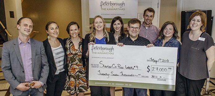 Carlotta James and Megan Boyles of Three Sisters Natural Landscapes  and  Christine Teixeira of	Accountability Financial (second, third, and fourth from left) are three members of the Women's Business Network of Peterborough who received grants in 2018 from Starter Company Plus, a program administered by the Business Advisory Centre of Peterborough & the Kawarthas Economic Development. (Photo:  Peterborough & the Kawarthas Economic Development)