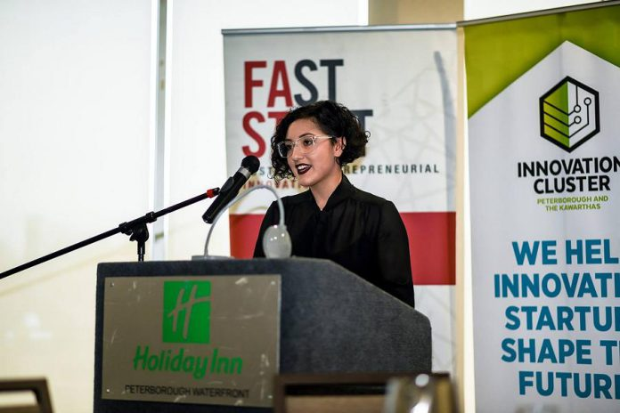 "Mercedez Nucaro, who co-founded 705 Creative with her sister Bianca Nucaro-Viteri, speaking at ""Gen Y - How Millennials are Shaping the Future"" in October 2018, an event organized by the Innovation Cluster. New members of the Women's Business Network of Peterborough in 2019-20, Mercedez and Bianca are clients of The Cube at the Innovation Cluster. (Photo: Innovation Cluster)"