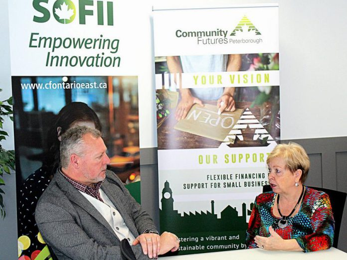 Community Futures Peterborough executive director Gail Moorhouse, who is a member of the Women's Business Network of Peterborough, chats with Vince Killen, executive director of  Community Futures Eastern Ontario and the Southern Ontario Fund for Investment in Innovation. Over the past two years, Community Futures Peterborough provides flexible financing and business counselling services for businesses within Peterborough and Peterborough County. (Supplied photo)