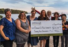 Women's Business Network of Peterborough members Sarah Susnar of Play Cafe Peterborough (second from left) and Jane Davidson of Best Write Communications (third from right) were both recipients of grants in 2017 from Starter Company Plus, a program administered by the Business Advisory Centre of Peterborough & the Kawarthas Economic Development. The Business Advisory Centre is one of several local resources savailable to assist entrepreneurs and small business owners who want to establish or grow their businesses. (Photo: Tyler Wilson)
