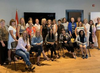 Northumberland Community Futures Development Corporation (CFDC) executive director Wendy Curtis and Northumberland-Peterborough South MP Kim Rudd (centre) join local women entrepreneurs and business leaders at Venture13 Innovation and Entrepreneurship Centre in Cobourg on August 8, 2019, when the federal government announced an investment of $1.4 million in Northumberland CFDC's DELIA, a financial technologies lending platform that will priorize commercial loan applications for women-owned and women-led enterprises in Eastern Ontario. (Photo: Office of Kim Rudd)