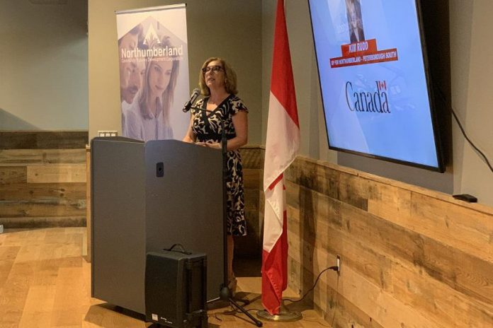 Northumberland-Peterborough South MP Kim Rudd announcing a $1,436,500 investment in Northumberland Community Futures Development Corporation (CFDC) to support women-owned and women-led enterprises in Eastern Ontario. The announcement took place at Venture13 in Cobourg on August 8, 2019. (Photo: Office of Kim Rudd)
