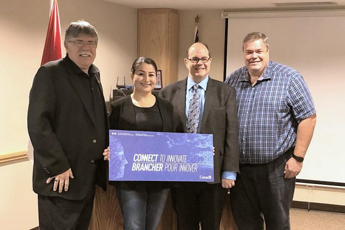 Douro-Dummer Mayor J. Murray Jones, Peterborough-Kawartha MP Maryam Monsef, and Nexicom president and owner Clayton Zekelman at the August 12, 2019 announcement of $1 million for Nexicom to bring high-speed internet to the Township of Douro-Dummer. (Photo: Office of Maryram Monsef)
