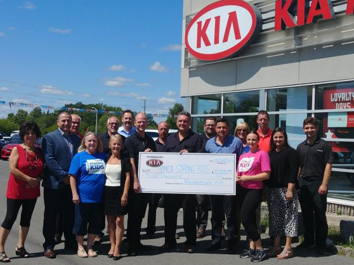 Peterborough KIA presents a cheque for $5,000 to YMCA of Central East Ontario for its Strong Kids Campaign on August 15, 2019. Photo courtesy of YMCA of Central East Ontario)