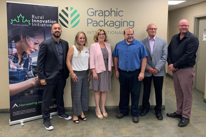 Northumberland-Peterborough South MP Kim Rudd (third from left) at the announcement of $50,000 in funding from the Rural Innovation Initiative Eastern Ontario for Graphic Packaging International of Cobourg. (Photo: Office of Kim Rudd)