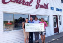 Central Smith Creamery owner Ian Scates (second from left) and vice-president/marketing Jenn Scates (right) present a cheque for $13,420.25 to Jane Lovett (left) and Lesley Heighway (second from right) of PRHC Foundation at the dairy's location at 739 Lindsay Road in Peterborough. (Photo courtesy of PRHC Foundation)