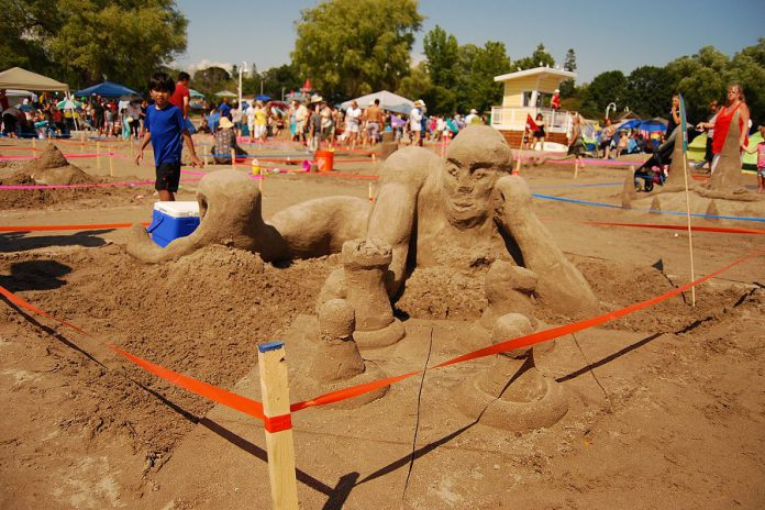 """""""Clown College Dropout"""" won the top prize in the amateur competition's adult category during the Cobourg Sandcastle Festival on August 3, 2019 at Victoria Beach in the Town of Cobourg. (Photo: April Potter / kawarthaNOW.com)"""