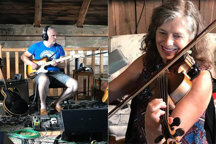 "Colin Cripps and Anne Lindsay, members of The Jim Cuddy Band, at Jim Cuddy's barn in southern Ontario recording his fifth solo album ""Countryside Soul"". The two musicians will be joining Cuddy at his concert  at the Academy Theatre in Lindsay on October 24, 2019. (Photos: Anne Lindsay / Facebook)"