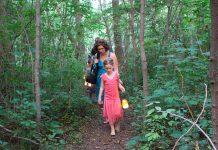 A highlight of GreenUP Ecology Park's Family Night is the Lantern Walk, where participants can make their very own lantern and travel the park's winding nature trails. This year's event, which takes place on Thursday, August 15th, also features a scavenger hunt, bike decorating, bubble making, and face painting. (Photo: Karen Halley)