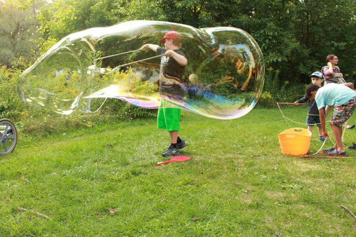 A giant bubble-making station will be set up at GreenUP Ecology Park's Family Night and Lantern Walk on August 15, 2019. (Photo: GreenUP)