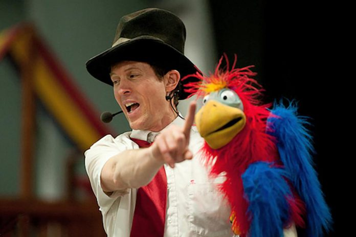 """New this year, """"stunt ventriloquist"""" Tim Holland will perform puppetry, ventriloquism, juggling, and unicycling at GreenUP Ecology Park's Family Night and Lantern Walk on August 15, 2019.  (Publicity photo)"""