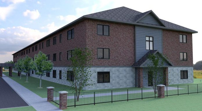 An architectural rendering of Habitat for Humanity Peterborough & Kawartha Region's planned 41-unit affordable condo development at 33 Leahy's Lane in Peterborough. On August 13, 2019, the federal government announced it is investing up to $3.2 million to support the development, part of a $32.4 million financial commitment over three years (2019-2021) under the federal government's National Housing Co-Investment Fund to support Habitat for Humanity Canada and its affiliate organizations across Canada. (Illustration courtesy of Habitat for Humanity Peterborough & Kawartha Region)