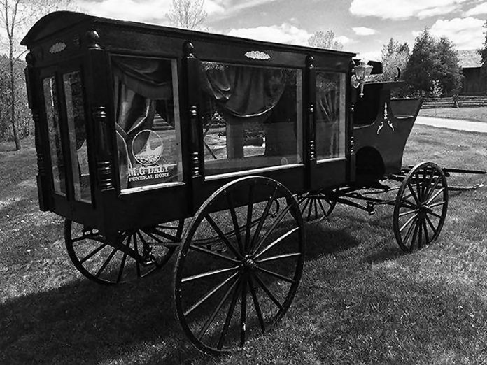 "During ""When Death Was in Fashion"" on August 10, 2019 at  Lang Pioneer Village Museum in Keene, see a horse-drawn hearse on loan from M.G. Daly Funeral Home. (Photo courtesy of Lang Pioneer Village Museum)"