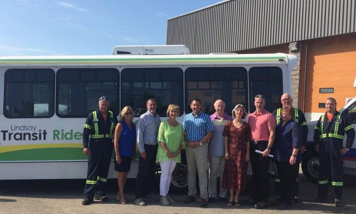 Ontario Minister of Infrastructure Laurie Scott and Haliburton-Kawartha Lakes-Brock MP Jamie Schmale joined Kawartha Lakes Mayor Andy Letham, members of council, and city staff for an announcement of public transit funding on August 16, 2019. (Photo: City of Kawartha Lakes)