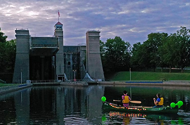 For the first time, this year's Lock and Paddle at the Peterborough Lift Lock on August 24, 2019 will be an evening event featuring a judged lighted paddelcraft parade followed by lighted night-time lockage. Free overnight camping at the Lift Lock will also be available for the first 150 registrants. (Photo: Parks Canada)