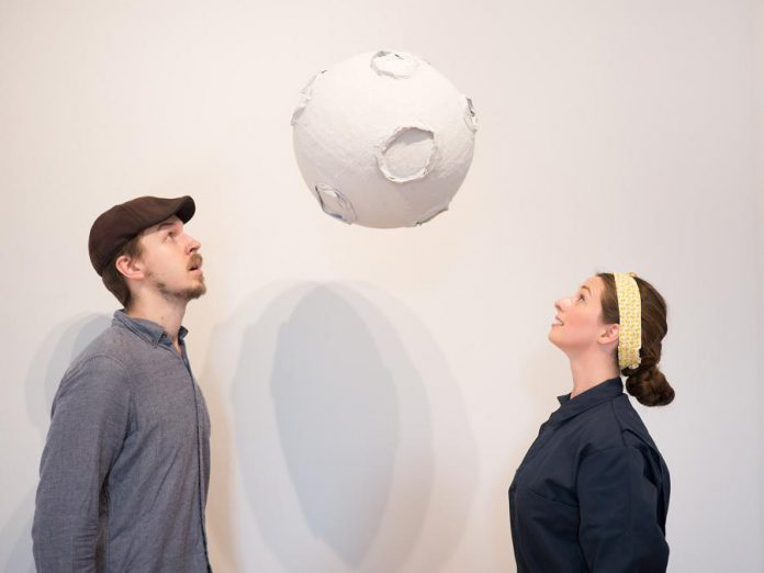 """Repatriation to the Moon"", the debut play from Peterborough's newest theatre company Grassboots Theatre, will be performed by company founders Chris Whidden and Peyton Le Barr, who recently relocated from Toronto to Peterborough County. The play runs for four performances from August 14 to 17, 2019 at Artspace in downtown Peterborough. The play is based on an underground theatre performance in 1946 by Whidden's great-uncle, artist and playwright Wladyslaw Dutkiewicz. (Photo: Andy Carroll)"