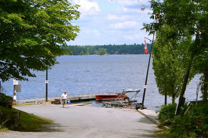 Two boats were involved in a night-time crash on August 24, 2019 in Young Bay, located on the far shore in this photo, which shows Crowes Landing at Stoney Lake. (Photo: Wikipedia)