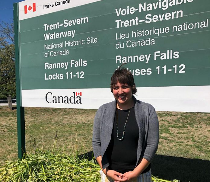 The Trent-Severn Trail Town program was developed in consultation with Cycle Forward founder Amy Camp, who helped launch the nationally recognized Trail Town program in the U.S. in 2007.  Camp attended the official launch of the Trent-Severn Trail Town program on August 22, 2019 at Ranney Falls (Locks 11-12) in Campbellford. (Photo courtesy of RTO8)