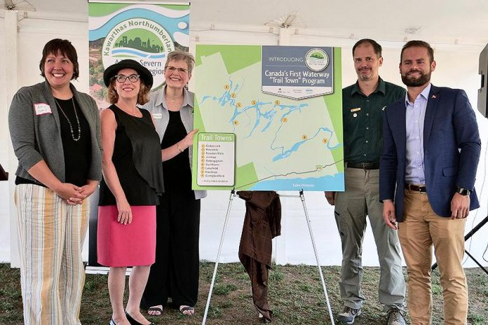 "Trent-Severn Trail Town program, Canada's first waterway ""trail town"" program, was launched on August 22, 2019 at Ranney Falls (Locks 11-12) in Campbellford. Pictured from left to right:  Cycle Forward founder and trail town consultant Amy Camp, Northumberland-Peterborough South MP Kim Rudd, Kawarthas Northumberland/Regional Tourism Organization 8 (RTO8) Executive Director Brenda Wood, Parks Canada Associate Director for Ontario Waterways Dwight Blythe, and Northumberland-Peterborough South MPP David Piccini.  (Photo courtesy of RTO8)"