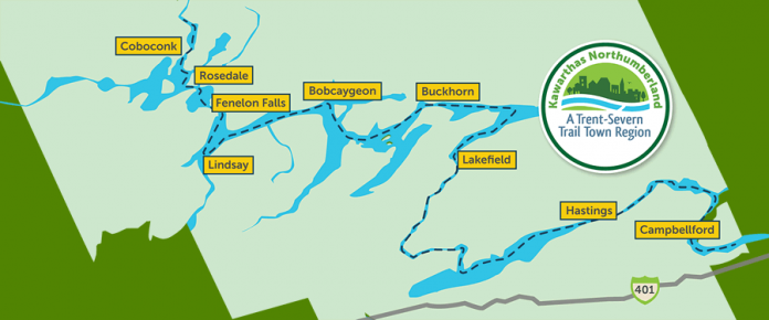 As of the official launch on August 22, 2019, nine communities in Kawarthas Northumberland region have signed on to the Trent-Severn Trail Town program. (Map courtesy of RTO8)