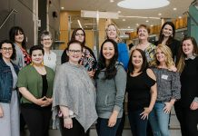The 2019-20 Board of Directors of the Women's Business Network of Peterborough. Front row, left to right: Program Director Sara George, Program Director Danielle McIver, Past President Tracey Ormond, President Grace Reynolds, External Communications Director Rencee Noonan, Director at Large Laurie English, and Secretary Nadine James. Back row, left to right: Technical Director Tiffany Arcari, Membership Director Arlene Blunck, Member Communications Director Vanessa Dinesen, Treasurer Christine Teixeira, Strategic Planning Director Diane Wolf, and Awards Director Paula Kehoe. (Photo: Heather Doughty)