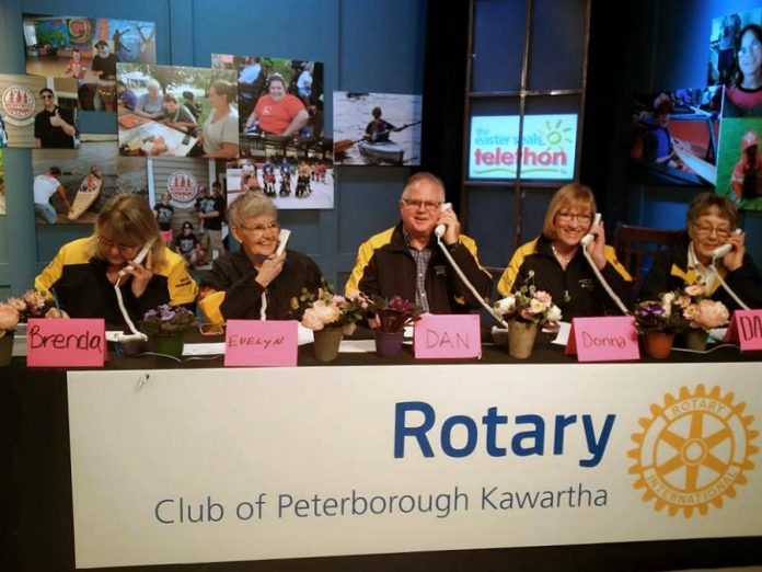Brenda Booth (left) at the Rotary Club of Peterborough Kawartha table during the annual Easter Seals Telethon. As well as being an active Rotarian, she sits on the board of Showplace Performance Centre and the Elder Abuse Prevention Network, along with other volunteer activities. (Supplied photo)