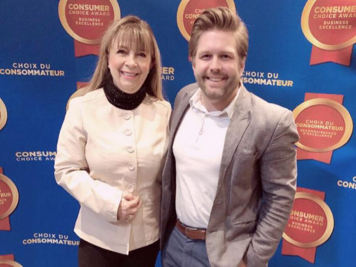 The Ear Depot owner and operator Brenda Cowan with team member Matt Paige celebrating the 2019 Consumer Choice Award for business excellence, awarded to small and medium-sized businesses in Canada based on an in-depth consumer evaluation process. The Ear Depot's customer-first focus has been key to the success of the independent hearing centre, which now has locations in Peterborough, Bancroft, Barry's Bay, Peterborough, and Marmora. (Supplied photo)