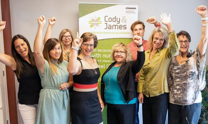 Gwyneth James and Suzanne Cody (centre) of Cody & James Chartered Professional Accountants, with team members (left to right) Kelly Wagar, Marissa Hanrahan, Amy Kulmala, Patrick Finlay, Michelle Stewart, and Cheri Anderson.   (Photo: Heather Doughty)