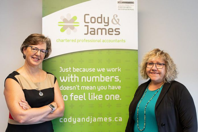 Gwyneth James and Suzanne Cody of Cody & James Chartered Professional Accountants. Located at 260 Milroy Dr. #1 in Peterborough, Cody & James CPAs offers a full suite of accounting services including financial statements, corporate and personal tax returns, bookkeeping, payroll, assurance engagements, and now financial controllership. (Photo: Heather Doughty)