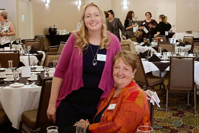 Diane Wolf (right) with her daughter, entrepreneur Christine Teixeira, at a member meeting of the Women's Business Network of Peterborough (WBN). In 2018-19, Diane and Christine became the first mother-and-daughter pair ever to serve on WBN's board of directors, and they are again both serving on the 2019-20 board. (Photo: WBN)