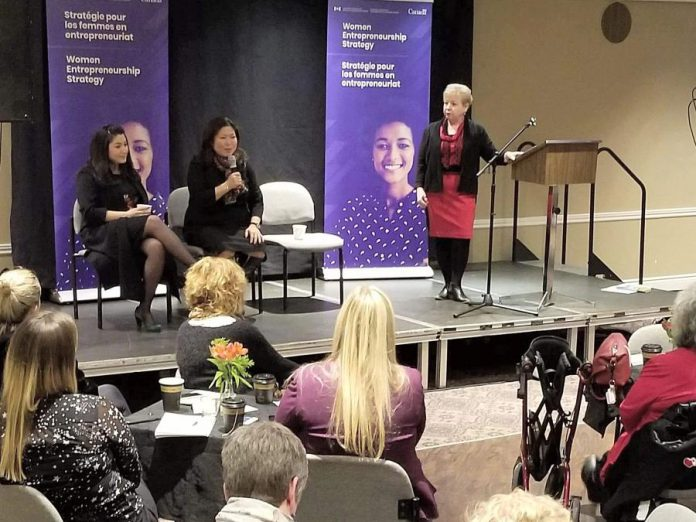 At a women's entrepreneurship town hall hosted by the Women's Business Network of Peterborough on December 19, 2019, Community Futures Peterborough executive director Gail Moorhouse (right) listens as federal Minister of Small Business and Export Promotion Mary Ng speaks, with Peterborough-Kawartha MP and Minister for Women and Gender Equality Maryam Monsef at the left. (Supplied photo)