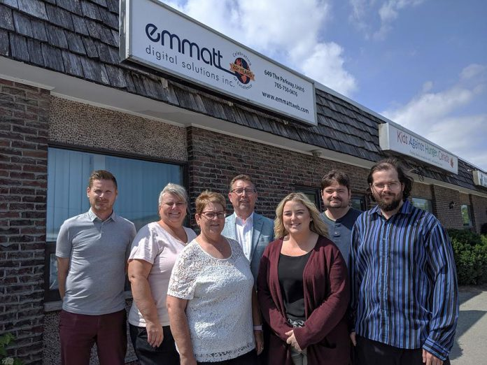 Some of the Emmatt Digital Solutions Inc. team at their offices at 649 The Parkway in Peterborough. The company, which recently celebrated 20 years in business, has grown into a successful full-service digital agency with clients around the world. (Photo: Paula Kehoe / kawarthaNOW.com)