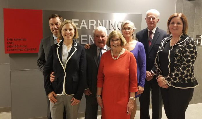 Martin and Denise Pick (third and fourth from left) are joined by son Charles Pick and daughter-in-law Dr. Rardi van Heest (left and second from left), former PRHC Board Chair Adair Ireland-Smith (third from right), PRHC President and CEO Dr. Peter McLaughlin (second from right) and Lesley Heighway at the opening of the Martin & Denise Pick Learning Centre, a donor-funded $3.1 million 4,300-square-foot state-of-the-art clinical, education, and meeting facility supporting continuous learning, innovation, and the future of world class patient care at PRHC. (Supplied photo)