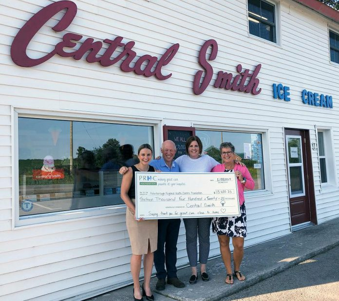 Central Smith Creamery owners Ian (second from left) and Jenn Scates (right) present Lesley Heighway and Jane Lovett (left) of the PRHC Foundation with a cheque for $13,420.25. The funds were raised through Central Smith's Ice Cream Social in support of PRHC, held on July 20th this summer.  (Supplied photo)