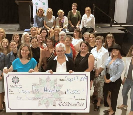 Casa De Angelae resident Katie Galloro and board chair Kim Aubin with some of the members of 100 Women Peterborough. The Peterborough home for women living with developmental disabilities will receive more than $10,000 from the group. (Photo courtesy of 100 Women Peterborough)