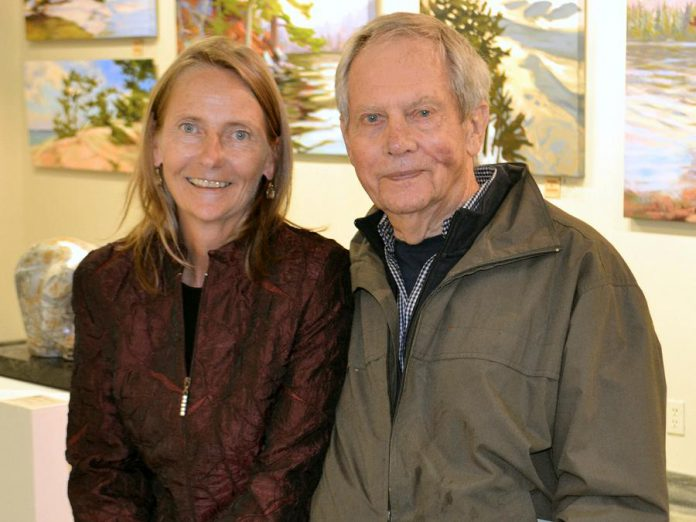 Robert Bateman with Andrea Hillo, the Algonquin-area designer and publisher of the art book series The Artists of Algonquin, The Artists of Muskoka,  The Artists of Haliburton Highlands, and The Artists of Kawartha. Bateman wrote the foreword for the first book in the series. (Photo courtesy of Andrea Hillo)