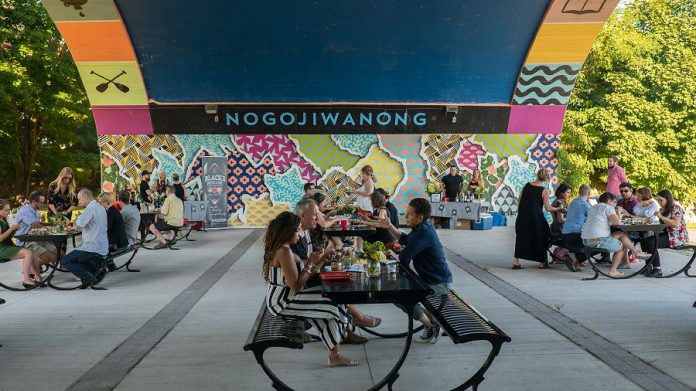 Artspace's Al Fresco is an outdoor dining experience under the Hunter Street Bridge in Peterborough on September 19th. (Photo courtesy of Artspace)