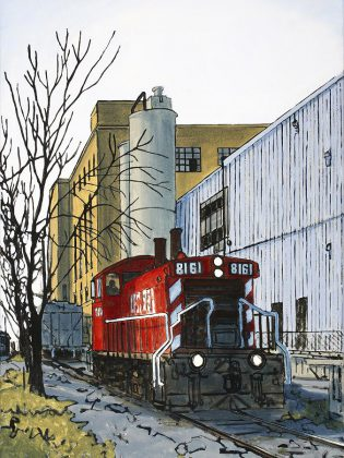 'Park & Lansdowne St., Peterborough' (oil on canvas, 2019) by Peer Christensen, one of the artists participating in the Kawartha Autumn Studio Tour.  (Photo courtesy of Art Gallery of Peterborough)
