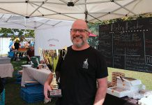 Brad Katz of Millbrook bakery Pastry Peddler, which won first place overall in the Kawarthas Butter Tart Tour Top Tart Taste-Off, held on September 22, 2019 at the Cultivate Festival in Port Hope, for their 'Peddler Saloon' butter tart with a whiskey-infused filling loaded with pecans and topped with candied whiskey pecans. (Photo courtesy of Kawarthas Butter Tart Tour)